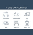 6 car icons vector image vector image