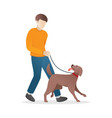 a man is walking with his dog vector image