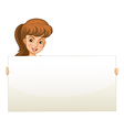 A teenage girl holding an empty board vector image vector image