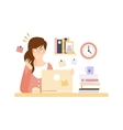 Angry Woman Office Worker In Office Cubicle Having vector image vector image