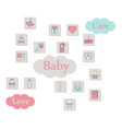 big square web icon set baby toy feed and care vector image