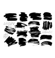 black dry brushstrokes hand drawn set vector image vector image