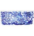 blue dragon azulejo ceramic tile magnet souvenir vector image