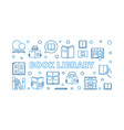 book library outline horizontal banner vector image