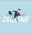 businessman running with challenge text vector image vector image