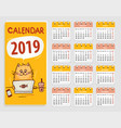 calendar 2019 with cute red cartoon cat vector image vector image