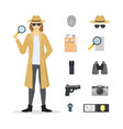 cartoon character female detective and icon set vector image