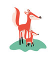 cartoon fox mom and cub over grass in colorful vector image vector image