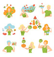 collection of people with vegetables and fruits vector image