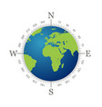 compass with world map and white background vector image vector image