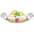 crazy mascot delicious homemade lemon cake with vector image vector image