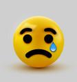 crying sad emoticon emoji smiley social network vector image