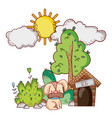 cute animals little dog with house tree nature vector image vector image