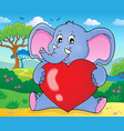 elephant holding heart theme image 2 vector image vector image