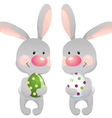 funny rabbits with egg eps10 contains transparent vector image vector image