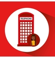 girl cartoon travel london box red telephone vector image