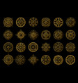golden mandalas on black background boho style vector image