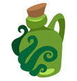 green glass bottle of an unusual shape with a vector image