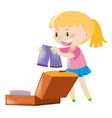 happy girl packing bag vector image vector image