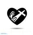heart black icon love symbol silhouette vector image vector image