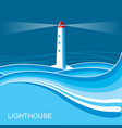 lighthousesea waves blue night background vector image vector image