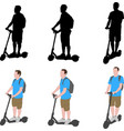 man riding electric scooter silhouettes and color vector image vector image