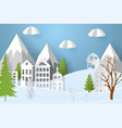 mountain village with paper art style in color vector image vector image