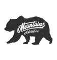 mountains adventure silhouette grizzly bear on vector image vector image