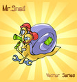 mr snail with working vector image vector image