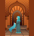 muslim woman praying in the mosque vector image
