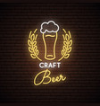 neon sign of craft beer neon pub emblem bright vector image