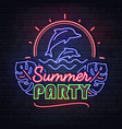 neon sign summer party with dolphins vector image