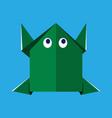 origami paper green frog vector image