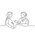 pregnant woman visiting doctor vector image