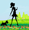 Pretty girl walking the dog vector image vector image