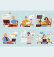 programmers working freelancers blogger students vector image