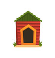 red wooden doghouse with green roof vector image vector image
