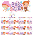 seamless background design with baby girls vector image vector image