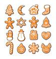 set cute gingerbread christmas cookies hand vector image vector image