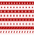 set of red and white christmas icons vector image