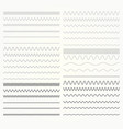 set of wavy lines - zigzag and squiggly borders vector image