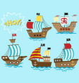 set sailboat cartoon vector image
