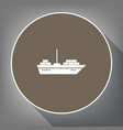 ship sign white icon on vector image
