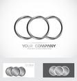 Silver metal rings circle logo vector image vector image