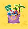summer beach element in bag vector image vector image