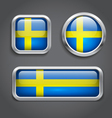 Sweden flag glass buttons vector image vector image