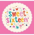 Sweet Sixteen card vector image vector image