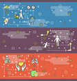 thin line art disabled people web banner vector image vector image