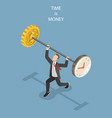 time is money flat isometric concept vector image vector image