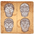 Vintage ethnic hand drawn human skulls set vector image